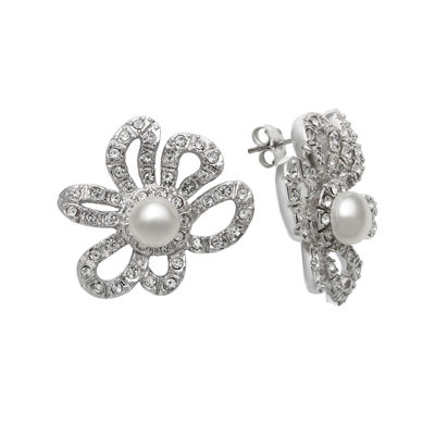 Cultured Freshwater Pearl and Crystal Floral Earrings