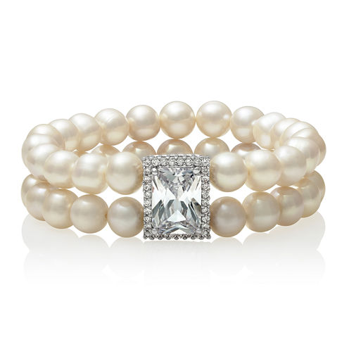 Cultured Freshwater Pearl and Cubic Zirconia Two-Row Stretch Bracelet