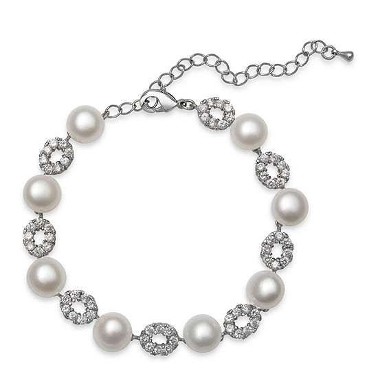 Cultured Freshwater Pearl and Cubic Zirconia Silver-Plated Bracelet