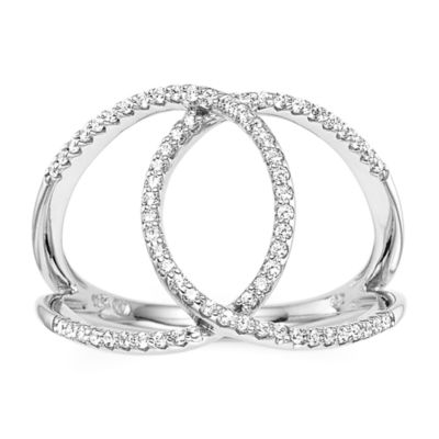 1/4 CT. T.W. Diamond 10K White Gold Interlocking Circle Ring