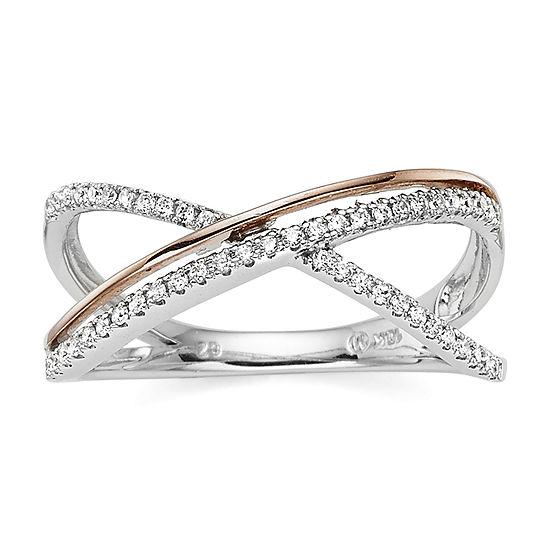 1/5 CT. T.W. Diamond 10K Two-Tone Gold X Ring