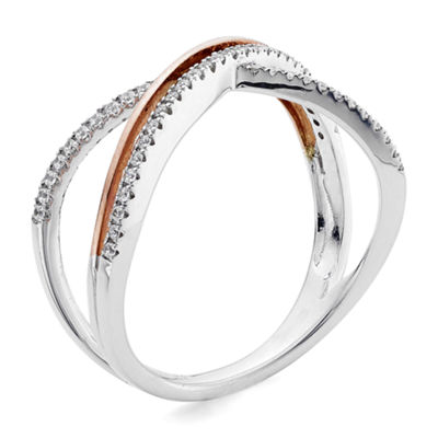 1/5 CT. T.W. Diamond 10K Two-Tone Gold X Ring