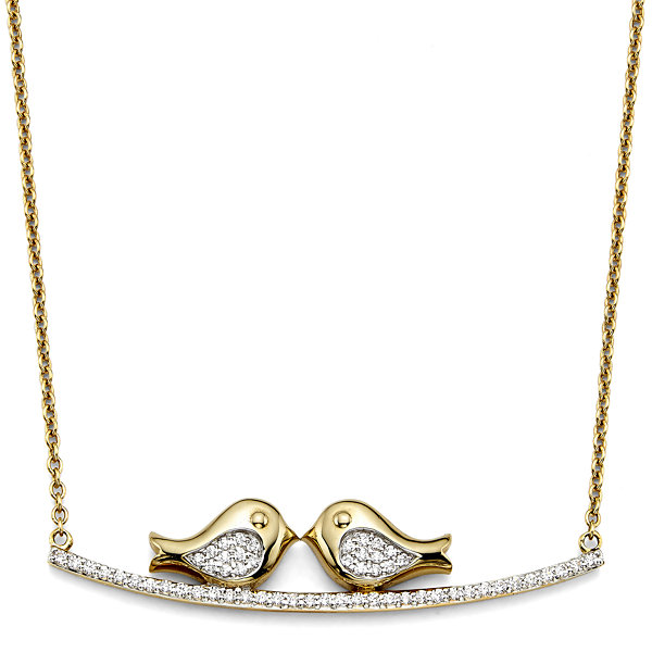 1/5 CT. T.W. Diamond 10K Yellow Gold Lovebirds Necklace