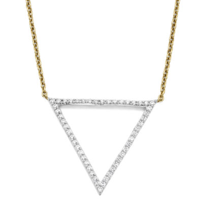 1/4 CT. T.W. Diamond 10K Yellow Gold Triangle Necklace