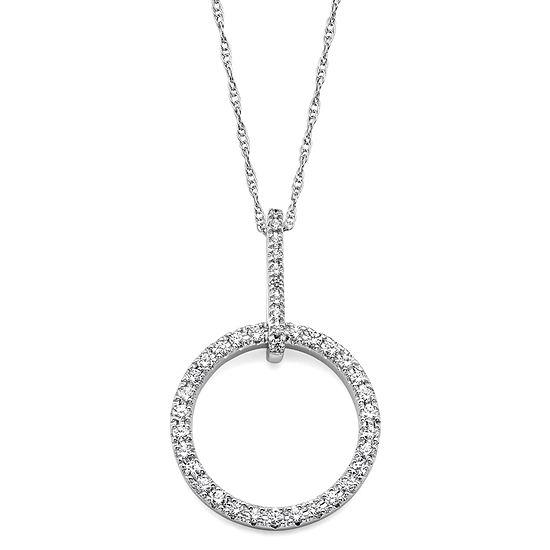 1/4 CT. T.W. Diamond 10K White Gold Openwork Circle Pendant Necklace