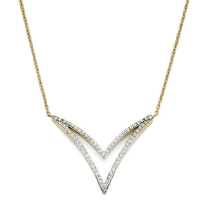 1/4 CT. T.W. Diamond 10K Yellow Gold 2-Row Chevron Necklace
