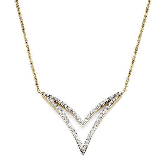 1/4 CT. T.W. Diamond 10K Yellow Gold 2-Row Chevron Necklace