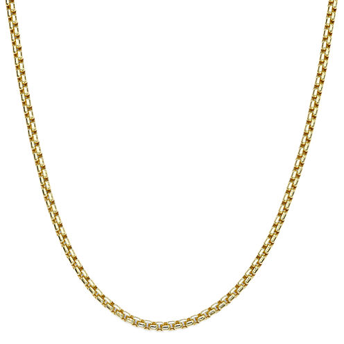 """Made in Italy 10K Yellow Gold 24"""" Hollow Box Chain Necklace"""