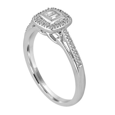 I Said Yes Womens 1/5 CT. T.W. Baguette White Diamond Platinaire Engagement Ring