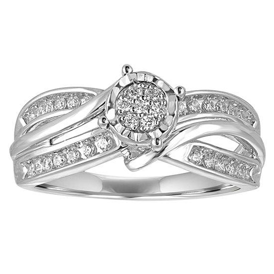 I Said Yes Womens 1/4 CT. T.W. Genuine White Diamond Platinaire Engagement Ring