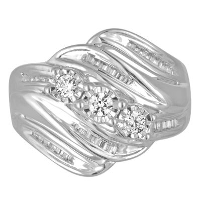 Love Lives Forever Womens 1/2 CT. T.W. Genuine Round White Diamond 10K Gold 3-Stone Ring