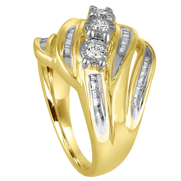 Love Lives Forever Womens 1/2 CT. T.W. Genuine Round White Diamond 10K Gold Engagement Ring
