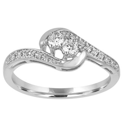 Two Forever Womens 1/4 CT. T.W. Round White Diamond 10K Gold Engagement Ring