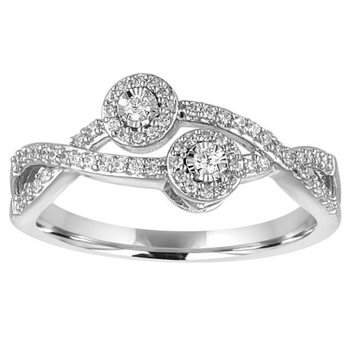 Two Forever Womens 1/4 CT. T.W. Genuine Round White Diamond 10K Gold Engagement Ring