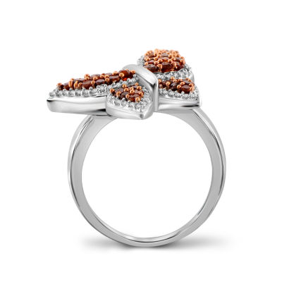 Womens Red Diamond Sterling Silver Cocktail Ring