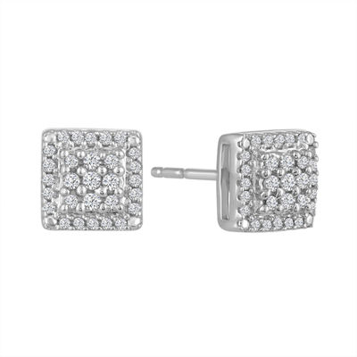 Diamond Blossom 1/5 CT. T.W. Genuine White Diamond Sterling Silver Stud Earrings