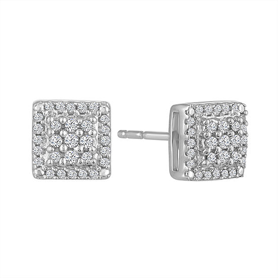 Diamond Blossom 1 5 Ct Tw Genuine White Diamond Sterling Silver Stud Earrings