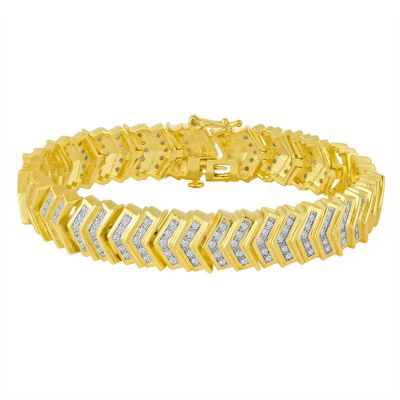 2 CT. T.W. Diamond 14K Gold Over Brass Link Bracelet