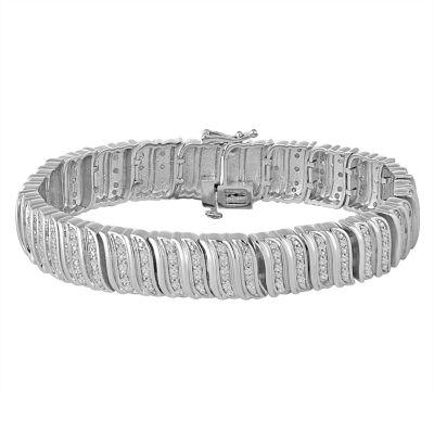 Pure Silver Over Brass Link Bracelet