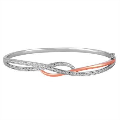 1/10 CT. T.W. Diamond Sterling Silver With 14K Rose Gold Over Silver Accent Bangle Bracelet