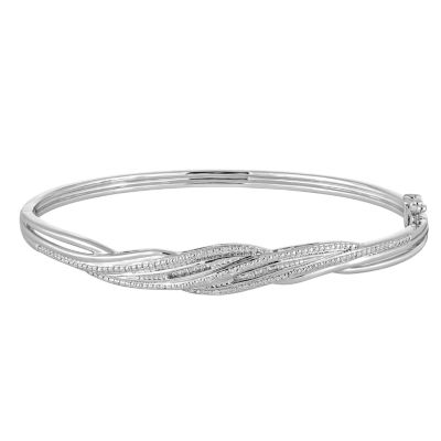1/10 CT. T.W. Diamond Sterling Silver Bangle Bracelet