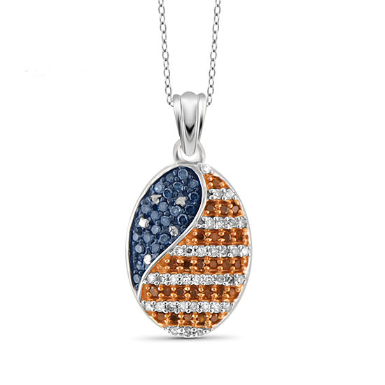 Womens 1/4 CT. T.W. Multi Color Diamond Sterling Silver Pendant Necklace