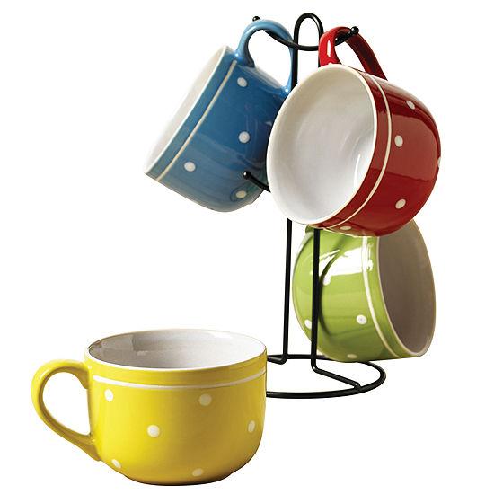 Tabletops Unlimited Polka Dot 5 Pc Coffee Mug