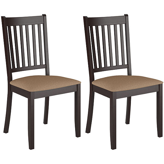Atwood Cappuccino Stained Dining Chairs With Microfiber Seat Set Of 2