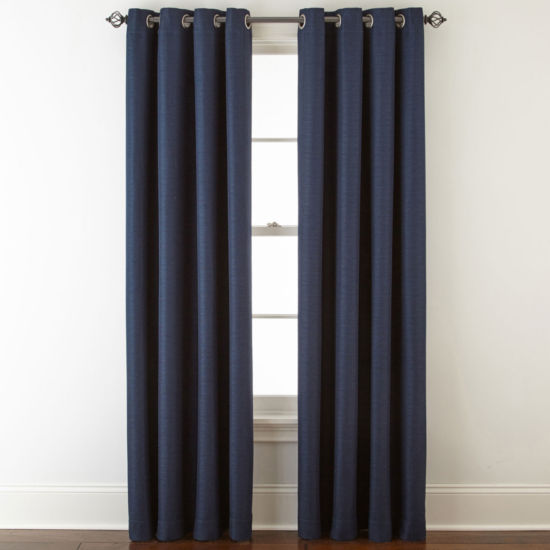 Liz Claiborne Quinn Basketweave Grommet-Top Curtain Panel