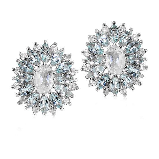 Genuine Blue Topaz Sterling Silver 16mm Stud Earrings