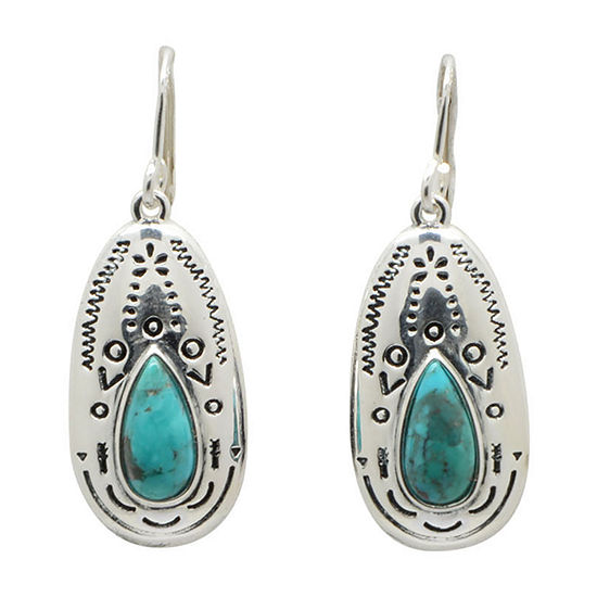 Silver Elements by Barse Genuine Blue Turquoise Sterling Silver Drop Earrings