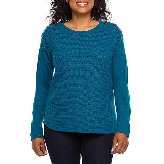 St. John's Bay Womens Crew Neck Long Sleeve Pullover Sweater-Petite