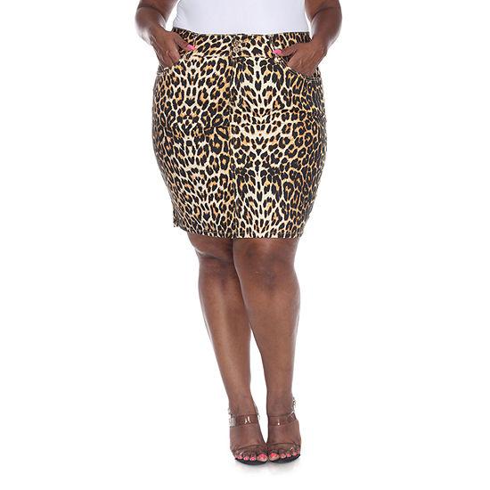 White Mark Womens Mid Rise Stretch Denim Skirt-Plus