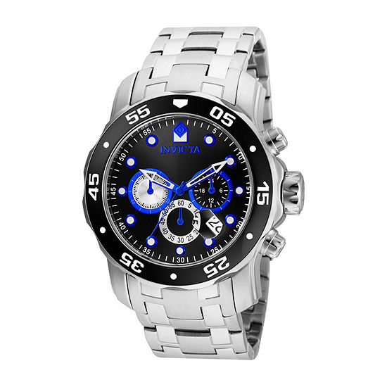Invicta Pro Diver Mens Chronograph Silver Tone Stainless Steel Bracelet Watch - 24848