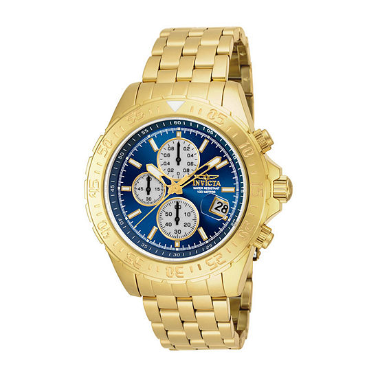 Invicta Aviator Mens Chronograph Gold Tone Stainless Steel Bracelet Watch 18855