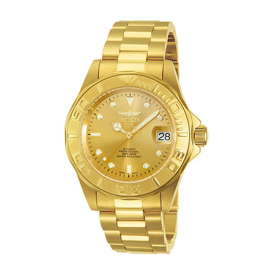 Invicta Pro Diver Mens Automatic Gold Tone Stainless Steel Bracelet Watch - 13929