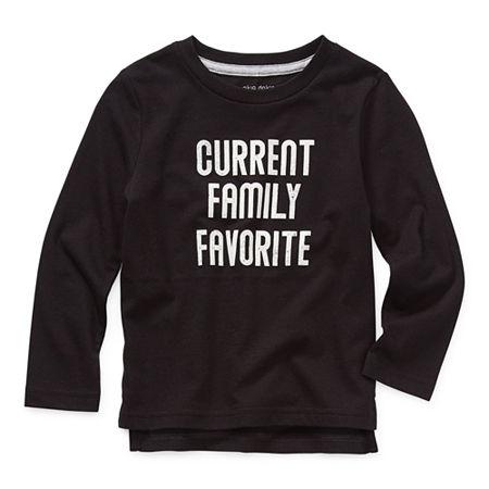 Okie Dokie Toddler Boys Crew Neck Long Sleeve T-Shirt, 5t , Black