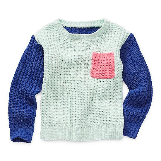 Okie Dokie Toddler Girls Crew Neck Long Sleeve Pullover Sweater