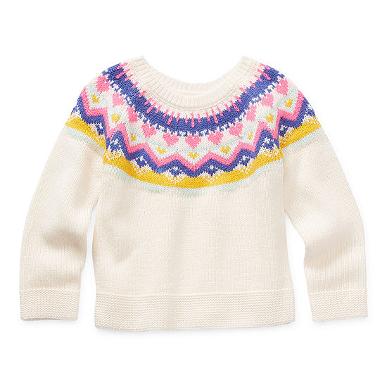 Okie Dokie Toddler Girls Crew Neck Long Sleeve Pullover Sweater