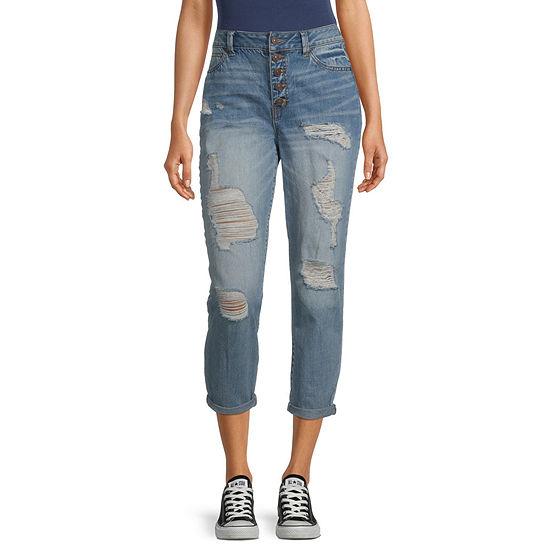 Rewash - Juniors Womens High Rise Slim Ripped Regular Fit Jean