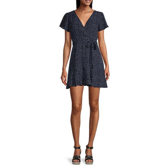 Trixxi Short Sleeve Faux Wrap Dress- Juniors