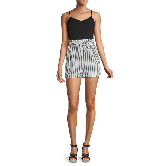City Triangle Sleeveless Belted Romper-Juniors