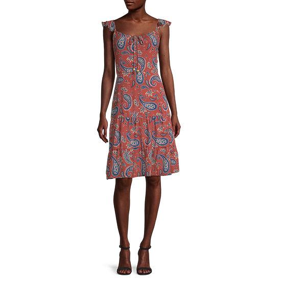 City Triangle-Juniors Short Sleeve Paisley Fit & Flare Dress