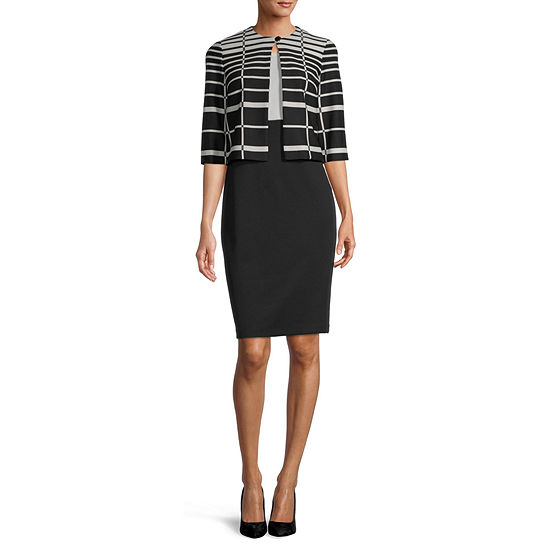 Danny & Nicole 3/4 Sleeve Striped Jacket Dress