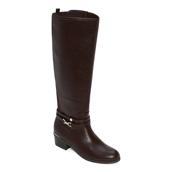Liz Claiborne Womens Townsend Riding Boots Stacked Heel