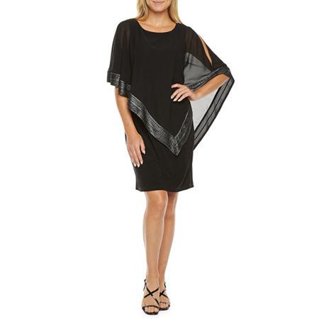 70s Prom, Formal, Evening, Party Dresses S. L. Fashions 34 Sleeve Sheath Dress 16  Black $66.75 AT vintagedancer.com