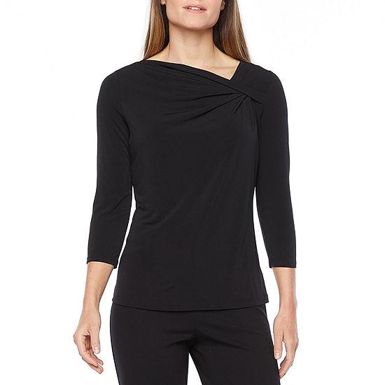Liz Claiborne Womens Asymmetrical Neck Long Sleeve Blouse