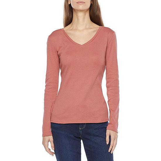 Liz Claiborne Womens Tall V Neck Long Sleeve T-Shirt