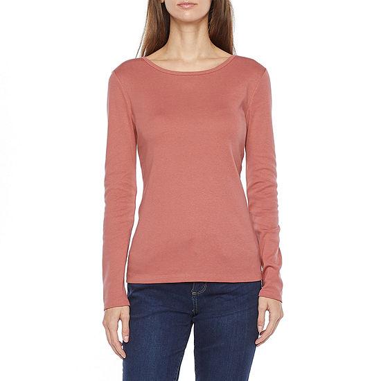 Liz Claiborne Womens Tall Crew Neck Long Sleeve T-Shirt
