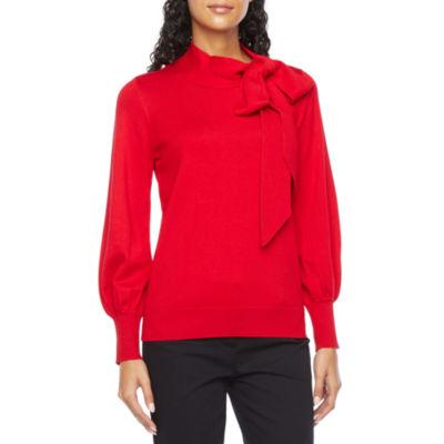 Liz Claiborne Womens High Neck Long Sleeve Pullover Sweater